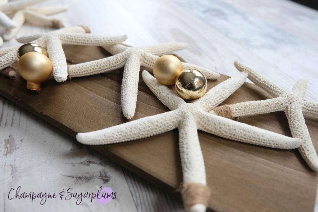 2 Step DIY Coastal Christmas Starfish Champagne and Sugarplums
