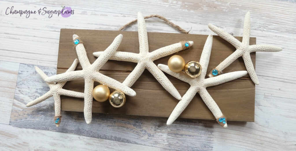 2 Step DIY Coastal Christmas Starfish Champagne and Sugarplums