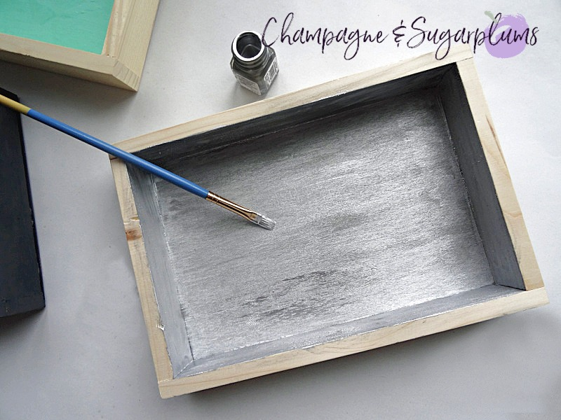 Painting the inside of a wood box silver by Champagne and Sugarplums