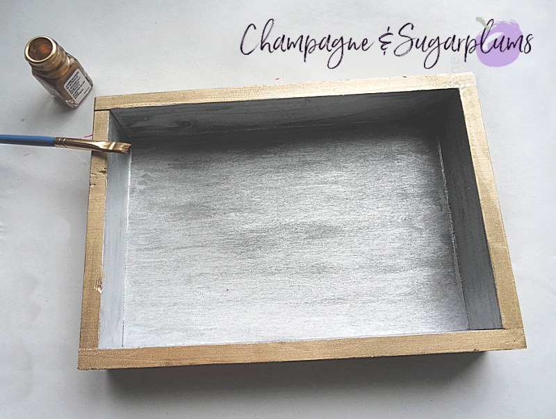 Painting the outside of a wood box in gold by Champagne and Sugarplums