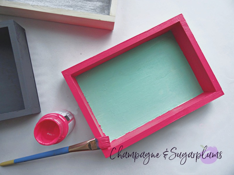 Painting the outside of a wood box pink by Champagne and Sugarplums