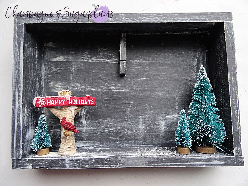 Completed rustic Christmas card holder by Champagne and Sugarplums