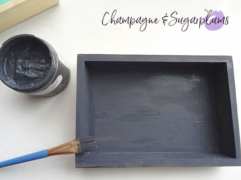 Painting a wood box dark gray by Champagne and Sugarplums