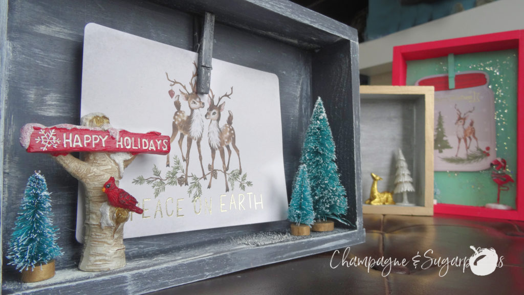 Completed Christmas card holders on a bench by Champagne and Sugarplums