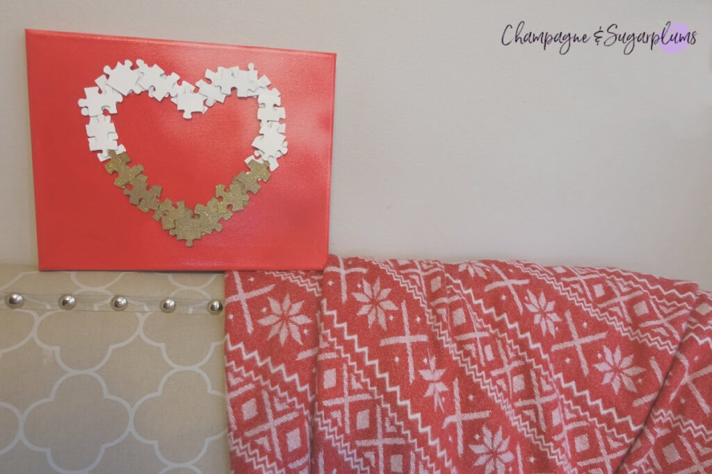 Easy DIY Valentine's Puzzle Heart Champagne and Sugarplums