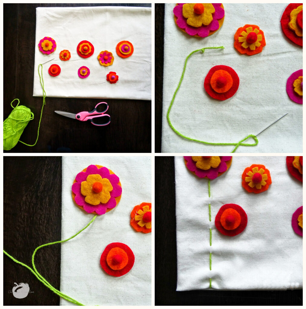 Collage of how to sew the stems onto the pillow case by Champagne and Sugarplums