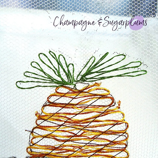 How to add embroidered leaves to a pineapple by Champagne and Sugarplums