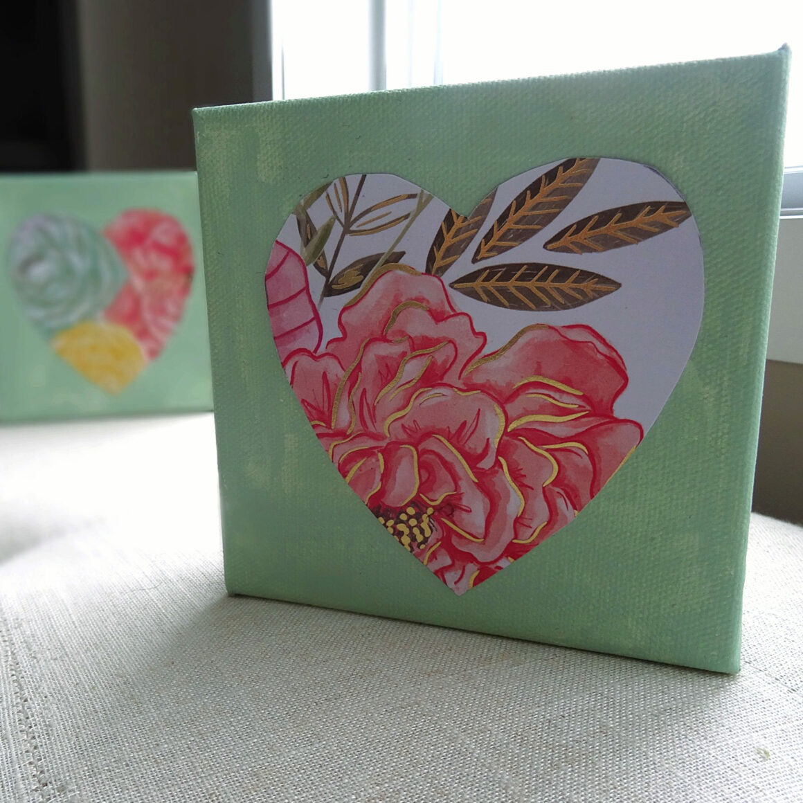 Valentine's Day Craft Heart Triptych Craft by Champagne and Sugarplums