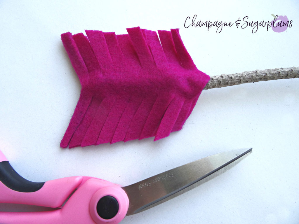 How to feather felt for a Valentine's Day Wreath by Champagne and Sugarplums
