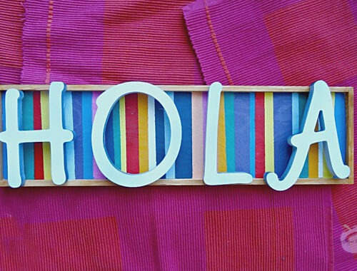 Easy DIY Hola Sign by Champagne and Sugarplums