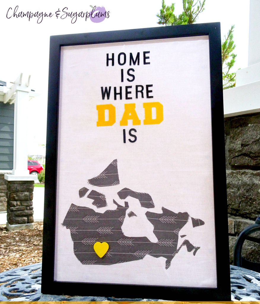 Completed Fathers Day Art frame on a table outside by Champagne and Sugarplums