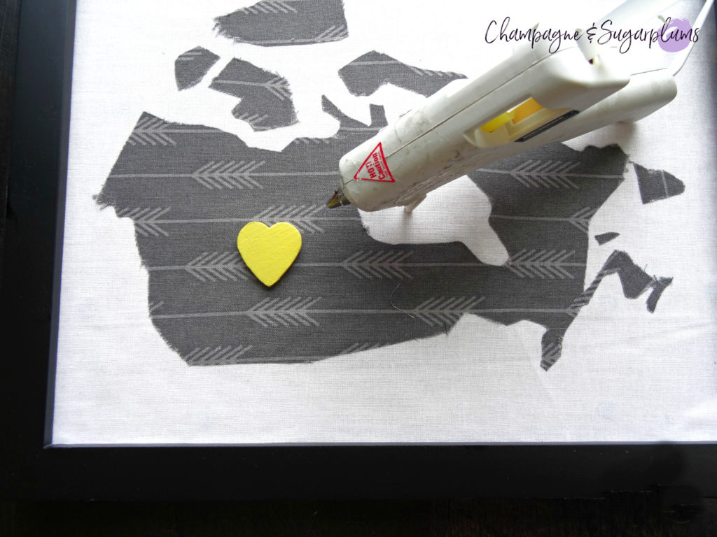 How to attach a heart shape onto a fabric map for a Father's Day Art frame by Champagne and Sugarplums