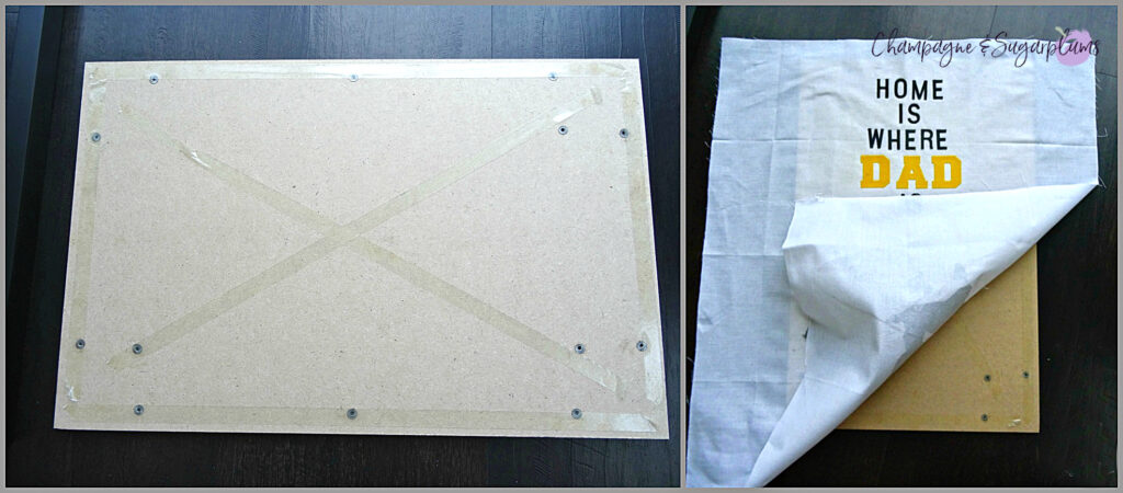 How to attach the completed fabric onto a frame backing for Father's Day frame by Champagne and Sugarplums