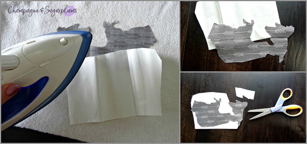 Collage of how to cut out a map in fabric for a Father's Day Art craft by Champagne and Sugarplums