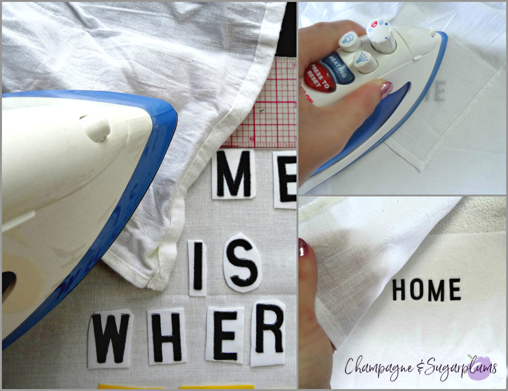Collage of how to iron letters for Fathers Day Art frame by Champagne and Sugarplums