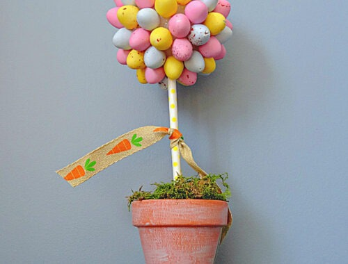 DIY Mini Egg Easter Topiary by Champagne and Sugarplums
