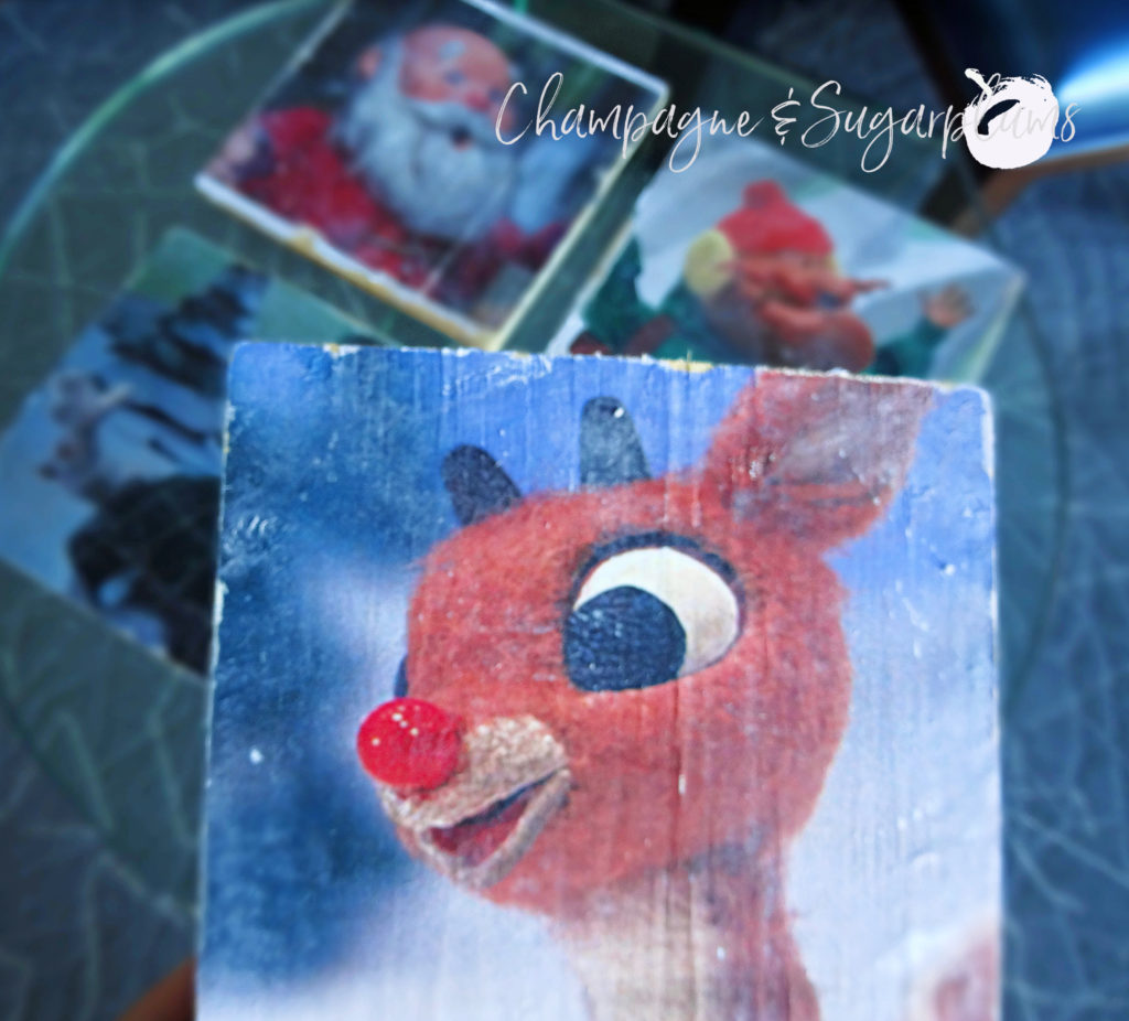 Retro inspired decoration with four characters, close up of Rudolph by Champagne and Sugarplums