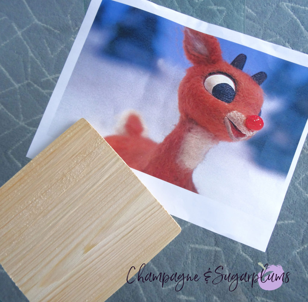 Wood plank and photo of Rudolph on blue background by Champagne and Sugarplums