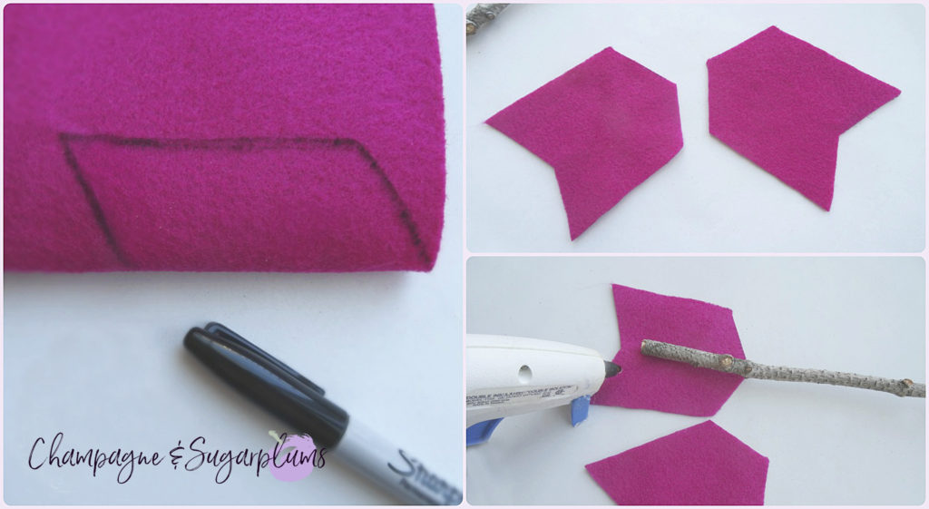 How to cut arrow feathers from pink felt for a Valentine's Day Wreath by Champagne and Sugarplums