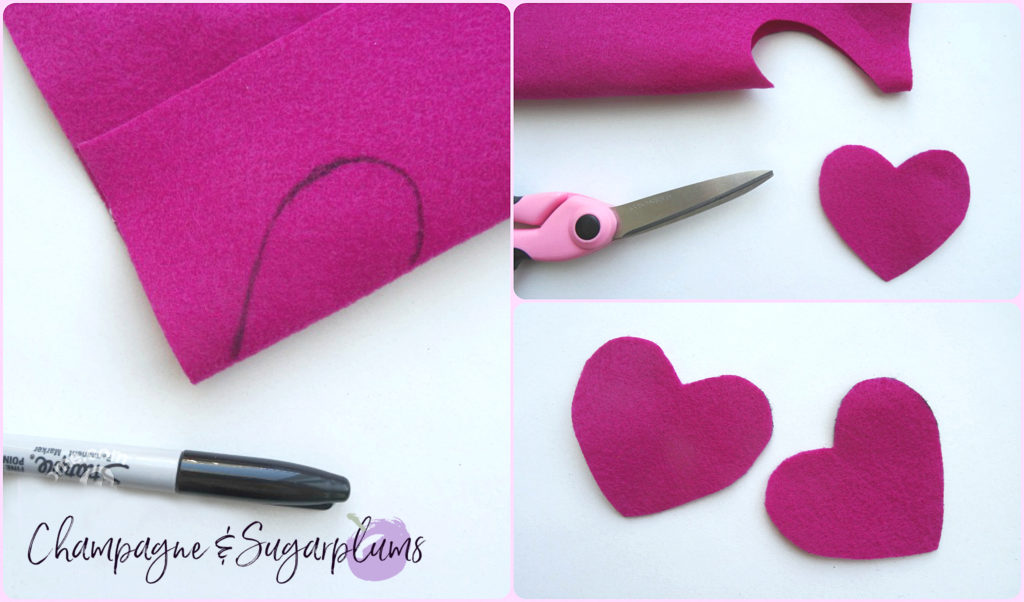 Collage of how to cut hearts from pink felt by Champagne and Sugarplums