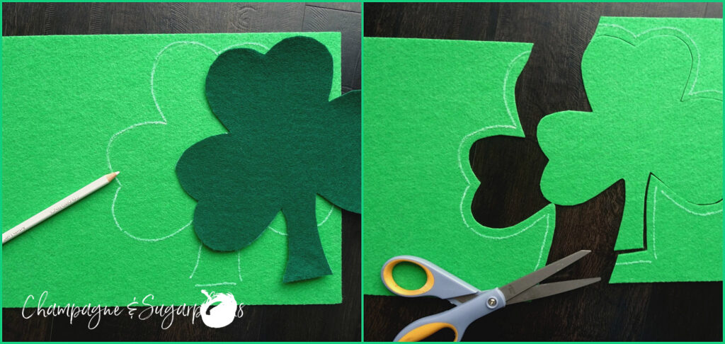Collage of cutting a smaller clover from green felt by Champagne and Sugarplums