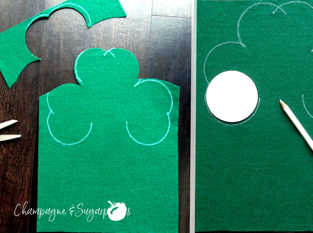 Collage of how to draw and cut out a clover from felt by Champagne and Sugarplums