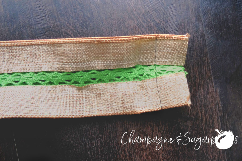 Sewing the ends of ribbon together to make a sash by Champagne and Sugarplums
