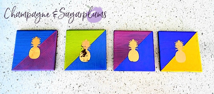 Colour Pop Coasters on a white background by Champagne and Sugarplums