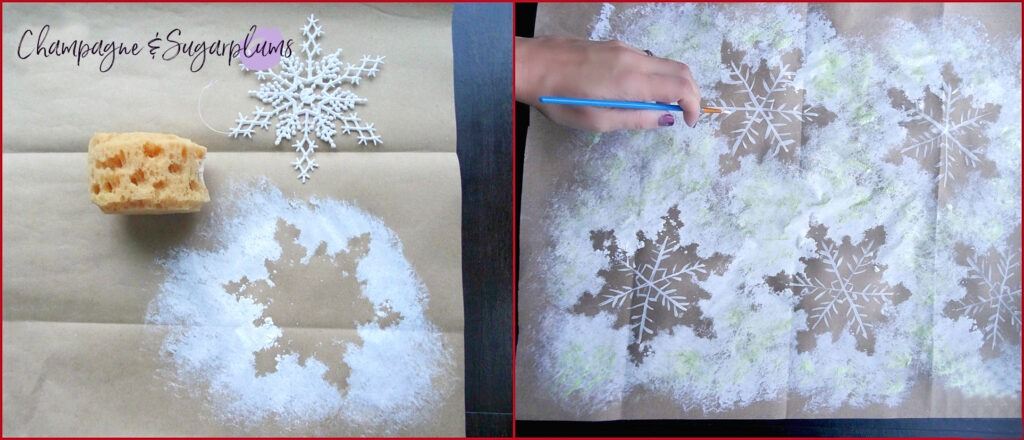 Collage of snowflakes sponged onto butcher paper by Champagne and Sugarplums