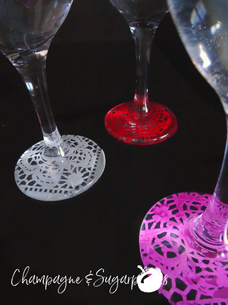 Galentine's Day Wine Glasses on a dark background by Champagne and Sugarplums