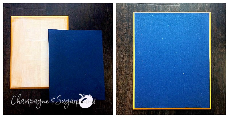 Collage of gluing paper to wood plank by Champagne and Sugarplums