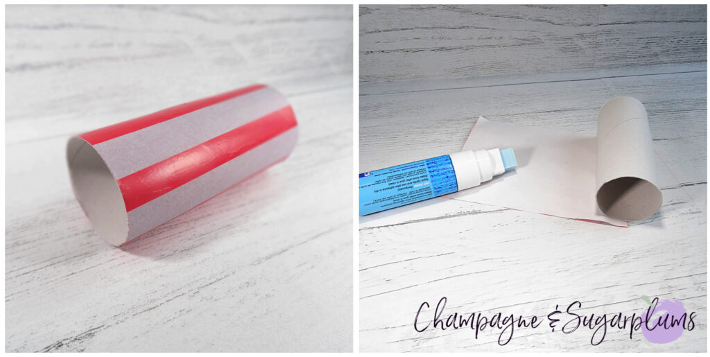 Gluing paper to toilet paper rolls by Champagne and Sugarplums