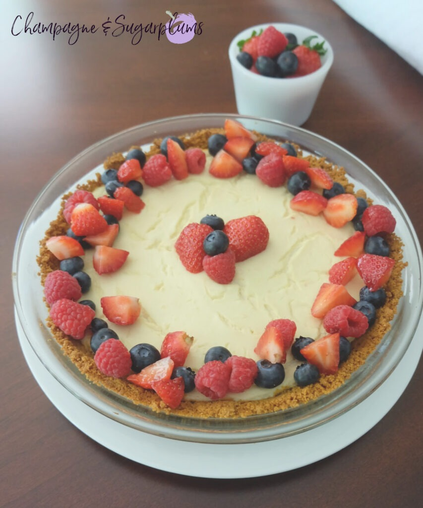 4th of July Red White and Blue Tofu and Berry Cheesecake
