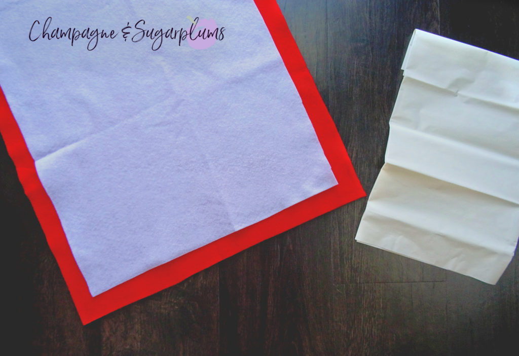 Red and white felt with iron on fabric adhesive by Champagne and Sugarplums