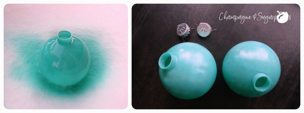 Collage of spray-painting ornaments in teal by Champagne and Sugarplums