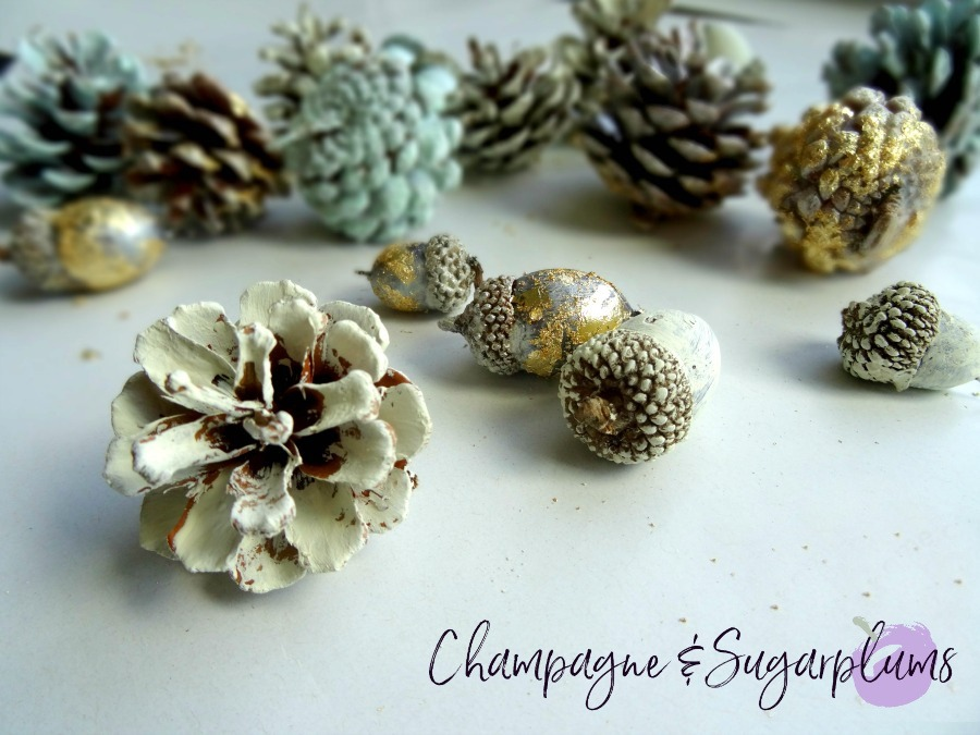 Pine cones and acorns painted cream on a white background by Champagne and Sugarplums