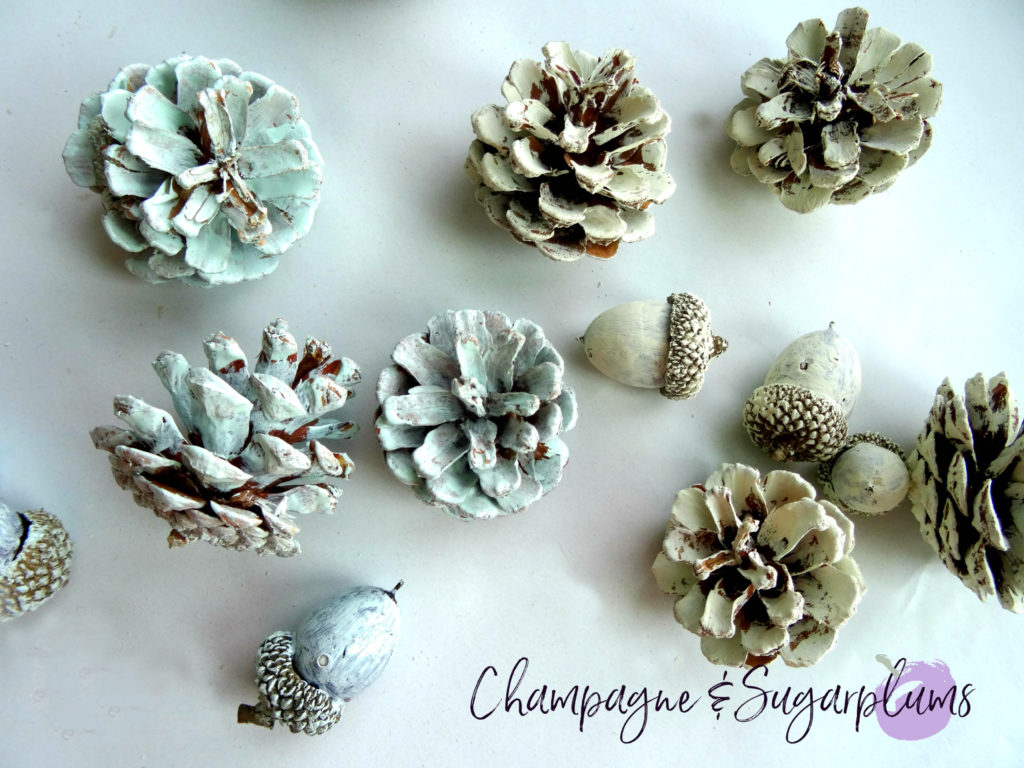 Painted pine cones and acorns no a white background by Champagne and Sugarplums