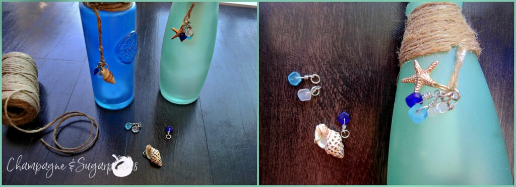 Collage of adding charms to sea glass bottles on a dark wood background by Champagne and Sugarplums