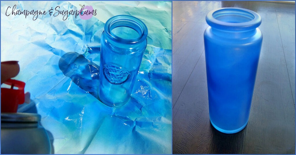 Bottle being spray-painted bright blue by Champagne and Sugarplums