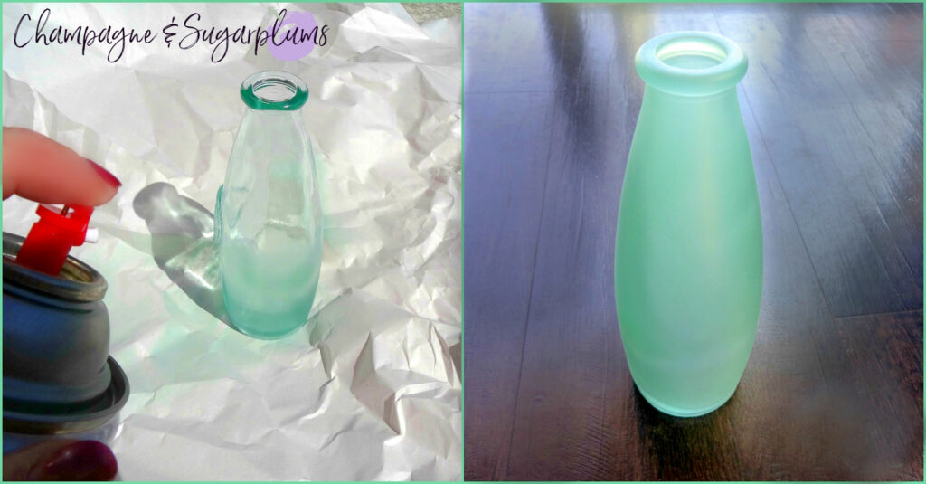 Bottle being spray-painted mint by Champagne and Sugarplums