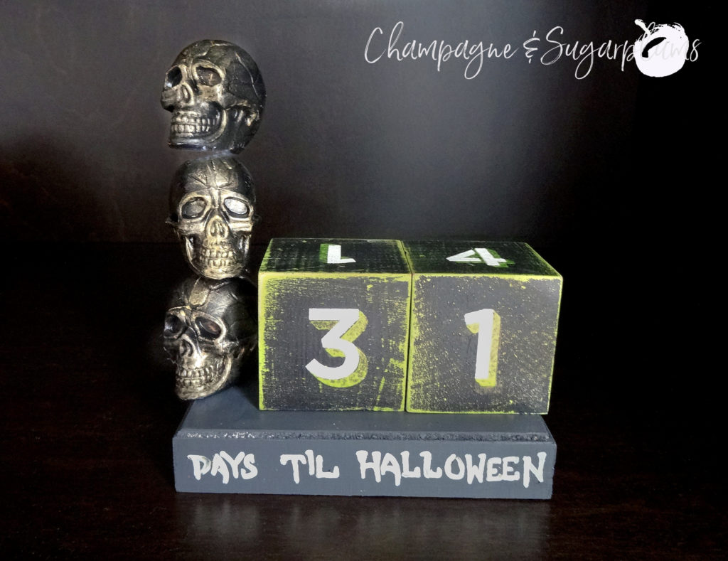 Halloween blocks skull advent on a dark background by Champagne and Sugarplums