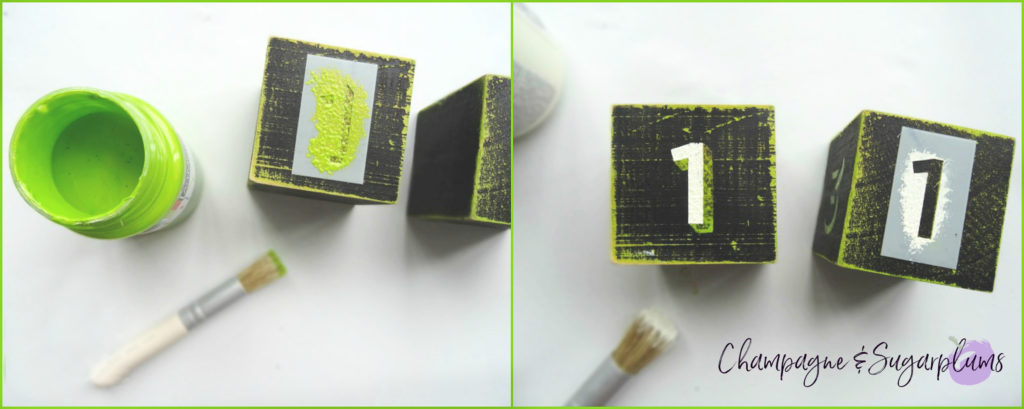 Collage of stenciling numbers onto wood blocks by Champagne and Sugarplums