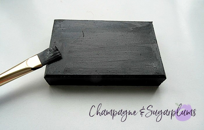 Painting a wood base block black by Champagne and Sugarplums