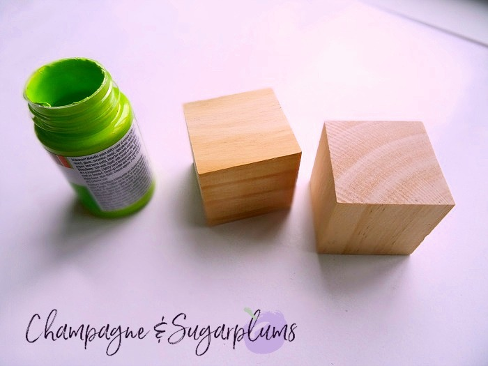 Wood blocks and green paint pot by Champagne and Sugarplums