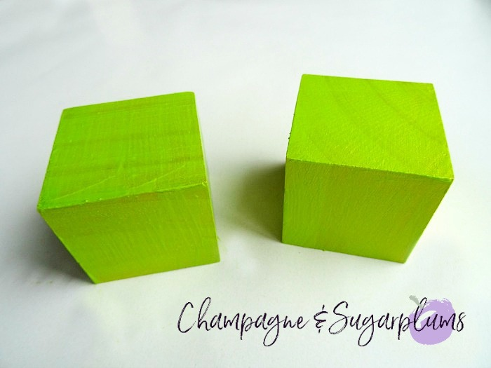 Wood blocks painted green by Champagne and Sugarplums