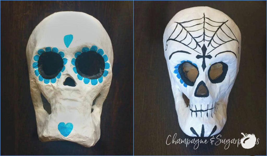 Collage of sugar skulls being painted by Champagne and Sugarplums