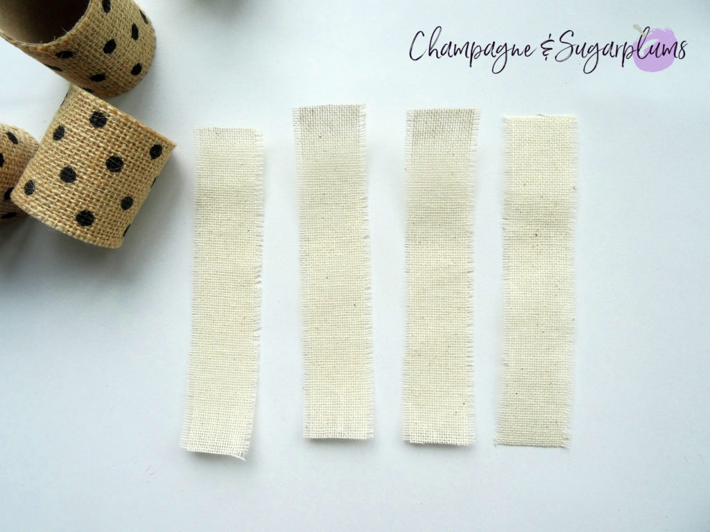 Strips of cream linen ribbon by Champagne and Sugarplums