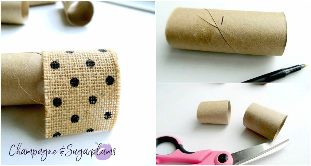 Collage of cutting a toilet paper roll and adding ribbon by Champagne and Sugarplums