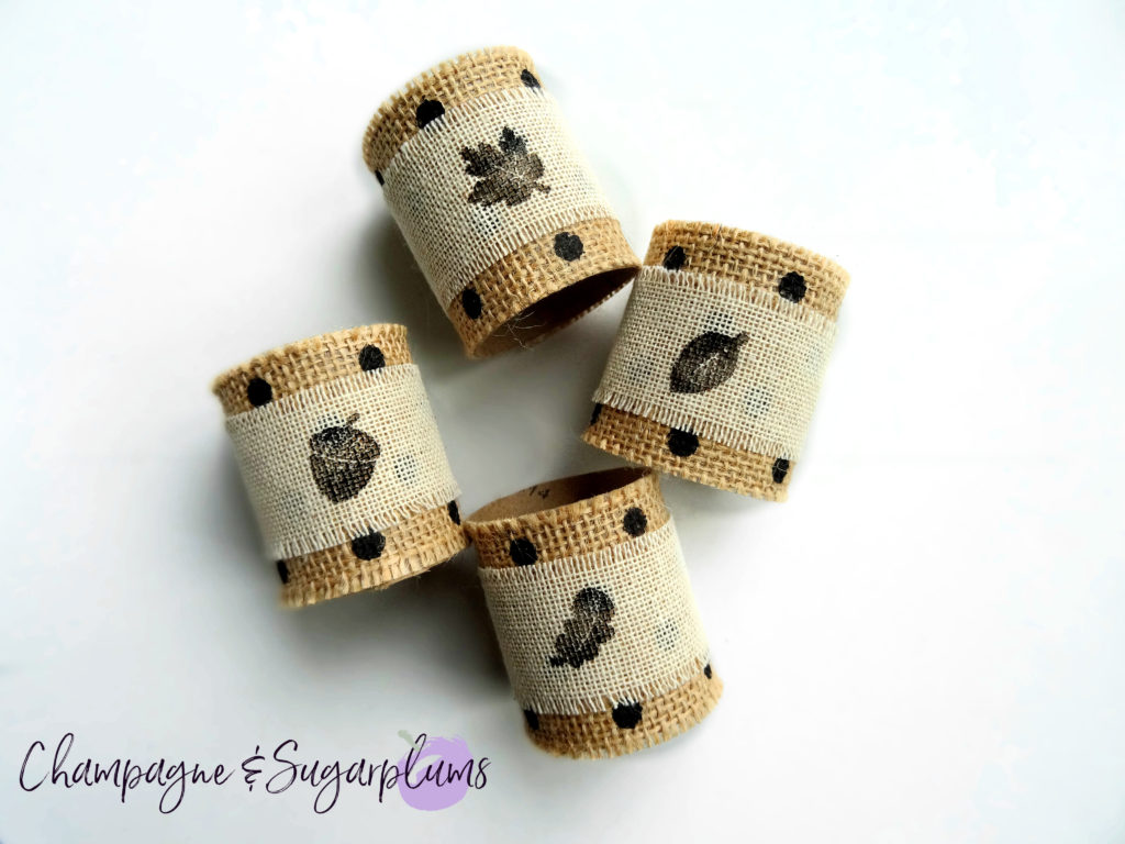 Half completed Thanksgiving napkin rings by Champagne and Sugarplums