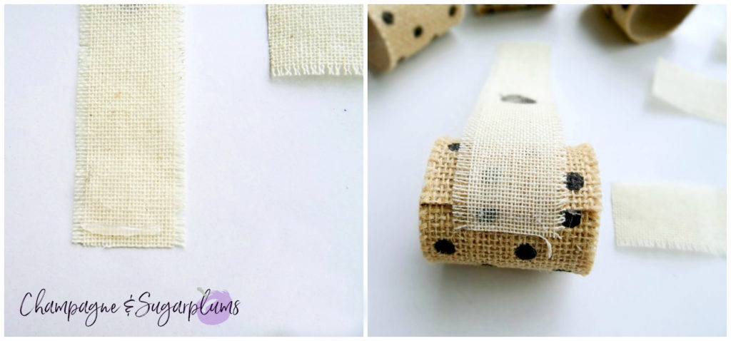 Strips of cream linen ribbon being added to ring by Champagne and Sugarplums